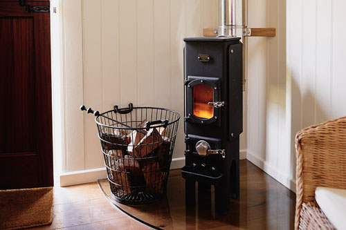 Nautipod wood burning, multi fuel stove in a shepherds hut in Wales