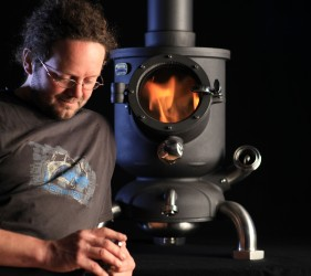 Dan Harding wwith a Hotpod Unlimited multi fuel wood burning stove