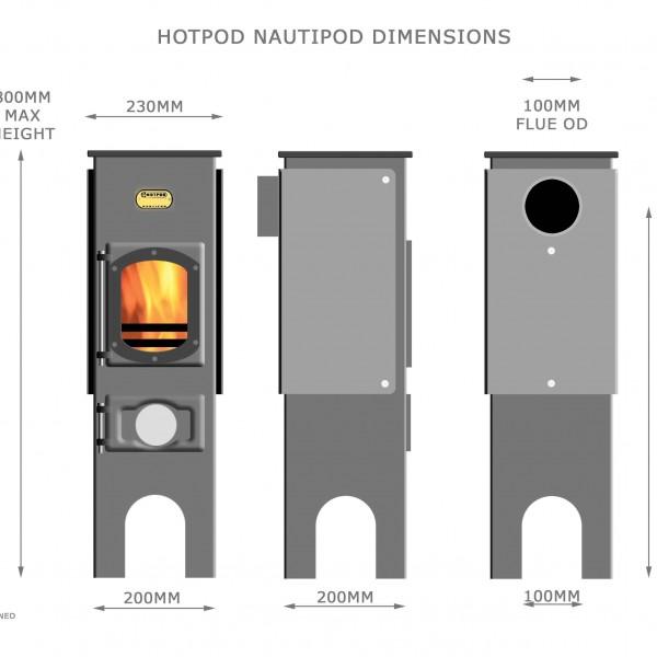 Hotpod Nautipod small space boat stove dimensions